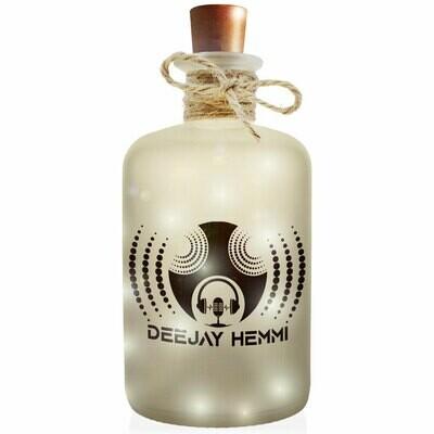 Deejay Hemmi Flaschenlicht (Dekoflasche im Frost-Look mit integrierter LED-Beleuchtung)