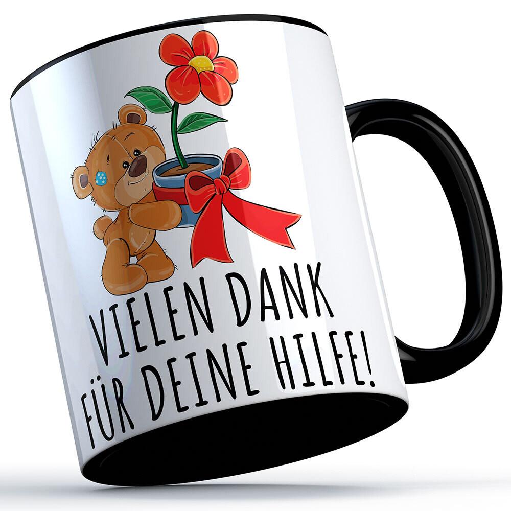 Vielen Dank für deine Hilfe Tasse (Bär mit Blume) süße Sprüchetasse (5 Varianten)