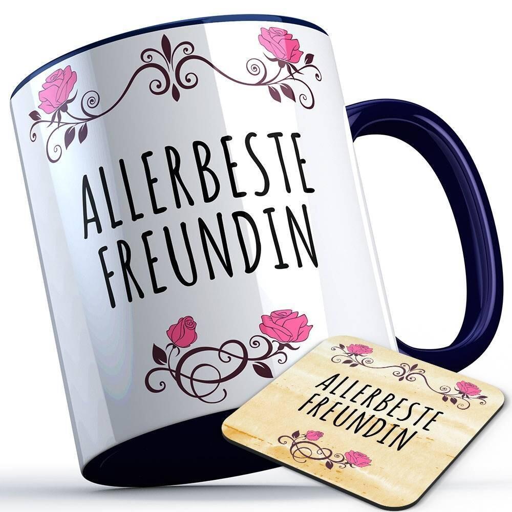 Allerbeste Freundin Tasse inkl. passendem Untersetzer süße Sprüchetasse (5 Varianten)