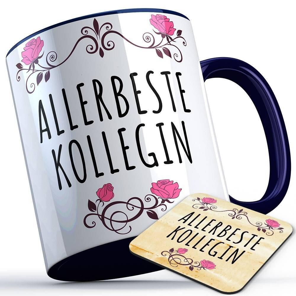 Allerbeste Kollegin Tasse inkl. passendem Untersetzer lustige Sprüchetasse (5 Varianten)