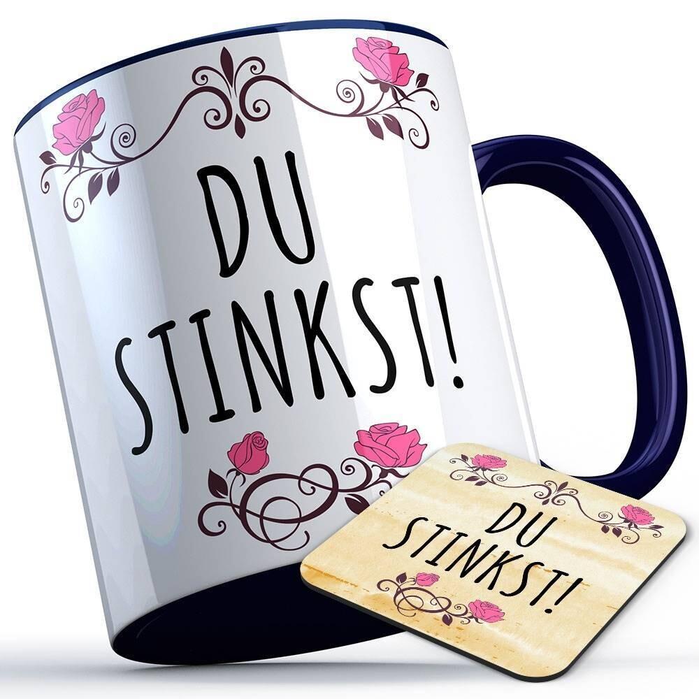 Du stinkst Tasse inkl. passendem Untersetzer lustige Sprüchetasse (5 Varianten)