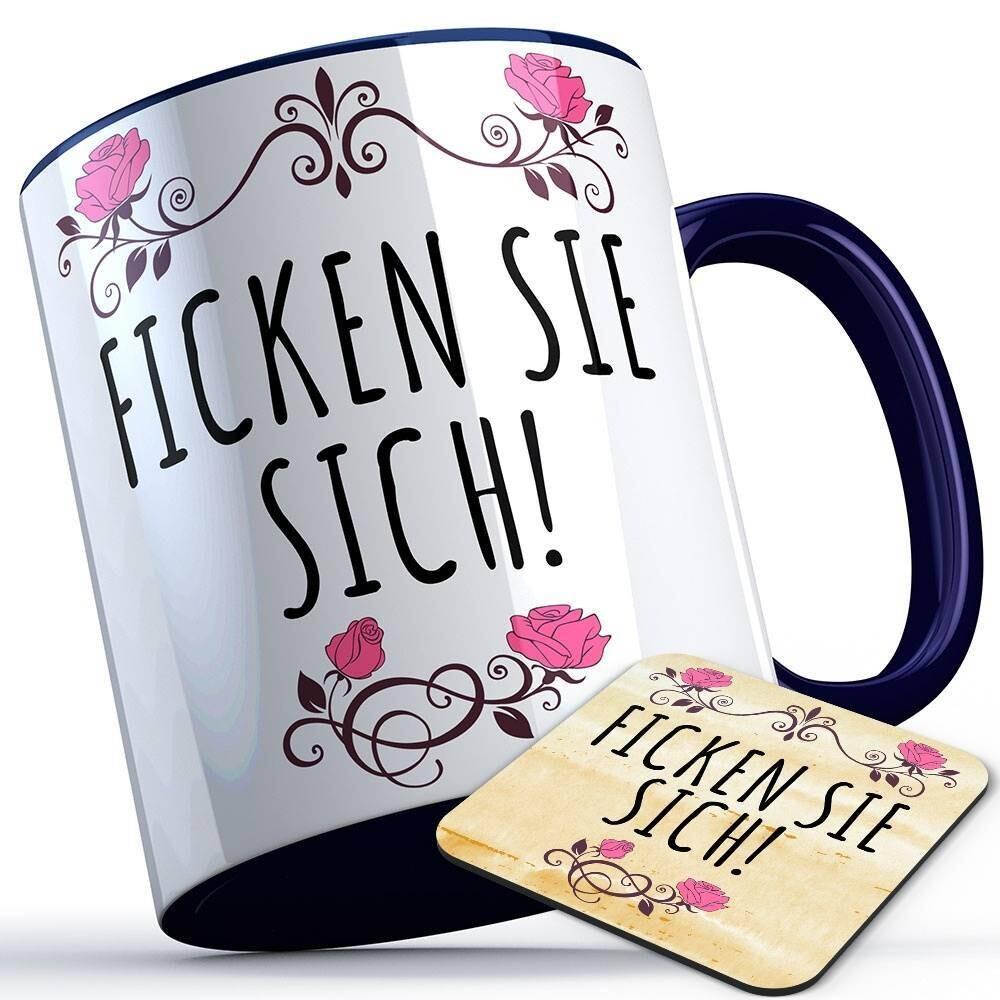 Ficken Sie sich Tasse inkl. passendem Untersetzer lustige Sprüchetasse (5 Varianten)