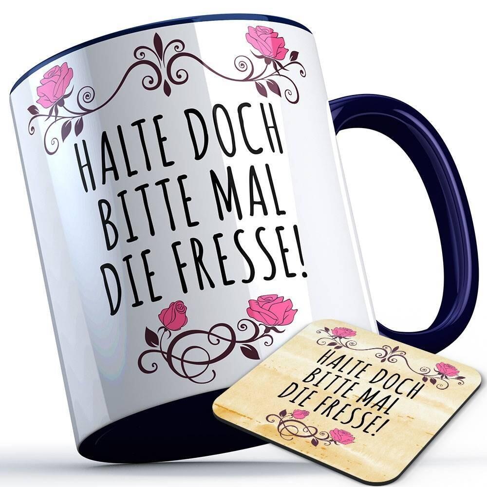 Halte doch bitte mal die Fresse Tasse inkl. passendem Untersetzer lustige Sprüchetasse (5 Varianten)