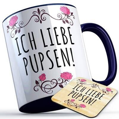 Ich liebe pupsen Tasse inkl. passendem Untersetzer lustige Sprüchetasse (5 Varianten)