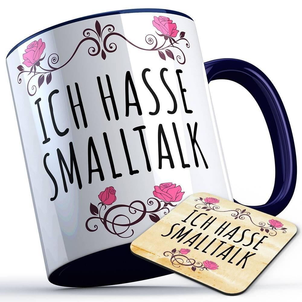 Ich hasse Smalltalk Tasse inkl. passendem Untersetzer lustige Sprüchetasse (5 Varianten)