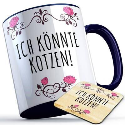 Ich könnte kotzen Tasse inkl. passendem Untersetzer lustige Sprüchetasse (5 Varianten)