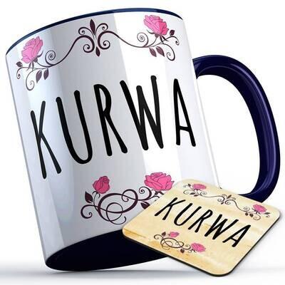 Kurwa Tasse inkl. passendem Untersetzer lustige Sprüchetasse (5 Varianten)