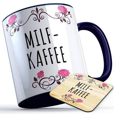 Milfkaffee Tasse inkl. passendem Untersetzer lustige Sprüchetasse (5 Varianten)