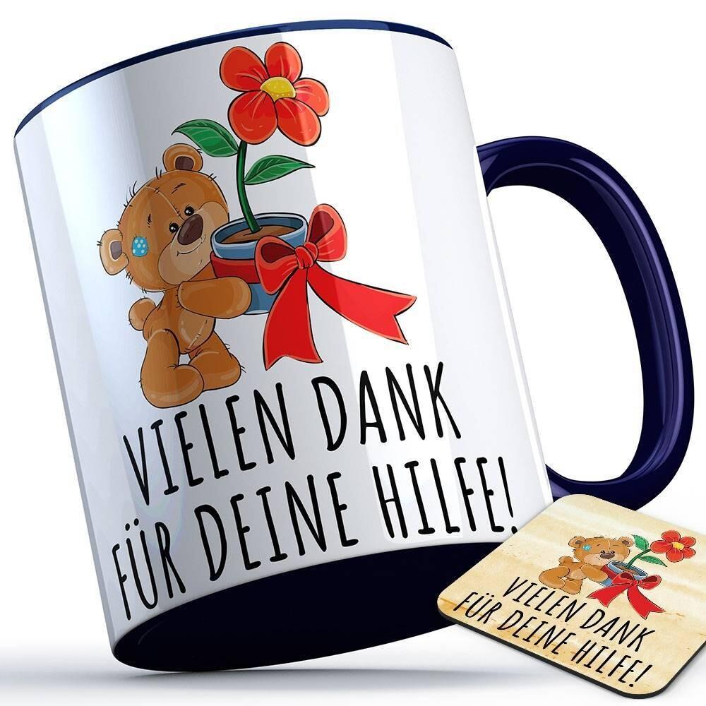 Vielen Dank für deine Hilfe Tasse (Bär mit Blume) inkl. passendem Untersetzer süße Sprüchetasse (5 Varianten)