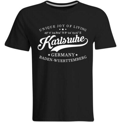 Karlsruhe T-Shirt mit GPS Koordinaten (Herren, Rundhals- oder V-Ausschnitt)