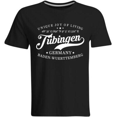Tübingen T-Shirt mit GPS Koordinaten (Herren, Rundhals- oder V-Ausschnitt)