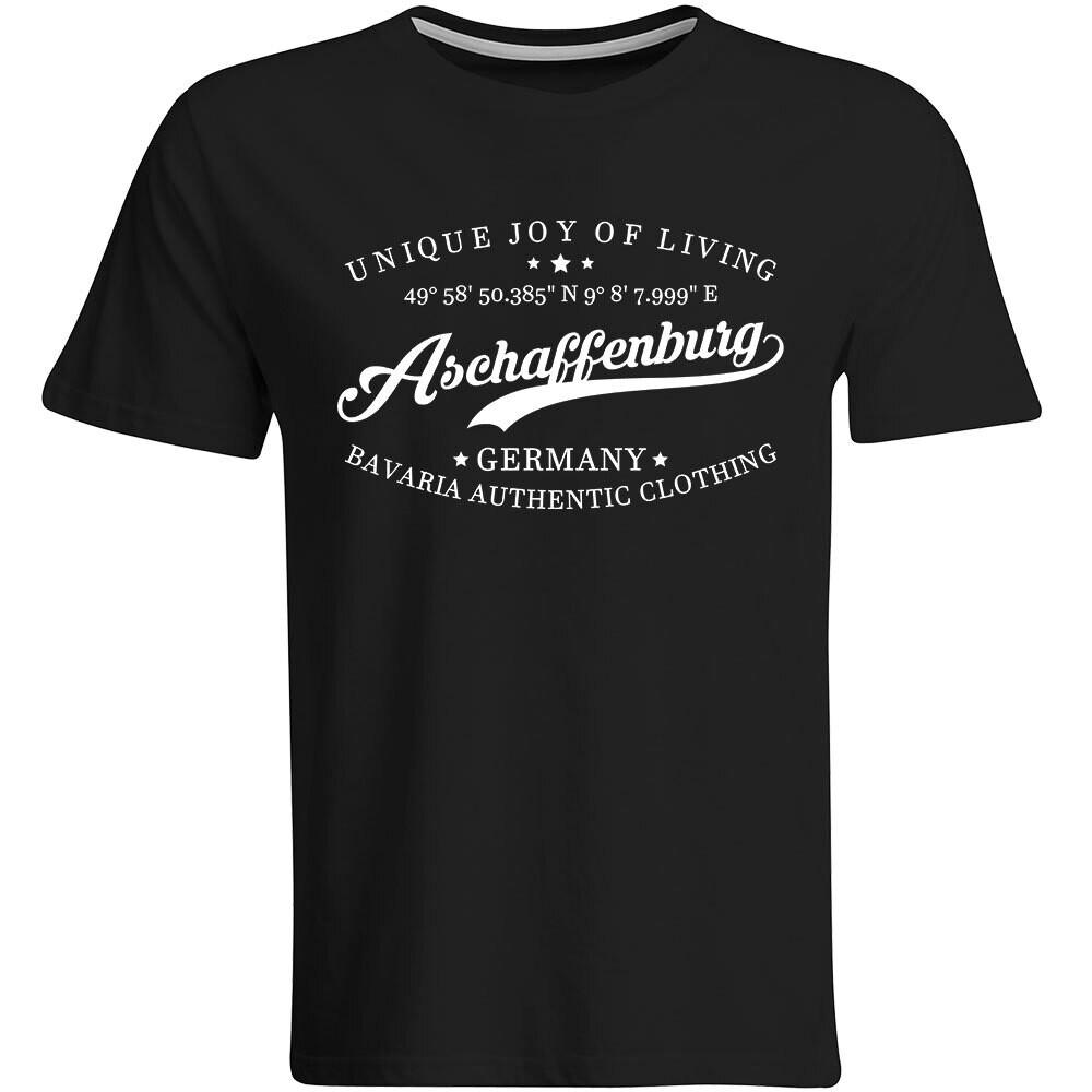 Aschaffenburg T-Shirt mit GPS Koordinaten (Herren, Rundhals- oder V-Ausschnitt)