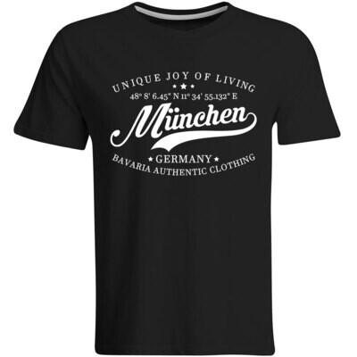 München T-Shirt mit GPS Koordinaten (Herren, Rundhals- oder V-Ausschnitt)