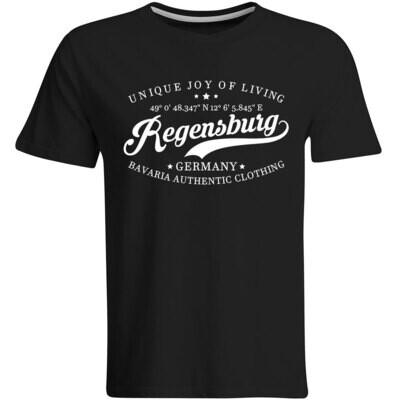 Regensburg T-Shirt mit GPS Koordinaten (Herren, Rundhals- oder V-Ausschnitt)