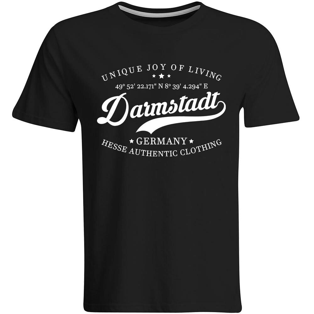 Darmstadt T-Shirt mit GPS Koordinaten (Herren, Rundhals- oder V-Ausschnitt)