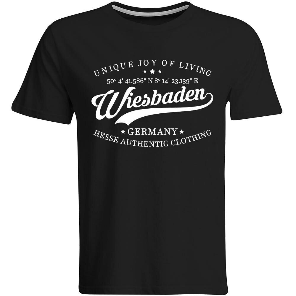 Wiesbaden T-Shirt mit GPS Koordinaten (Herren, Rundhals- oder V-Ausschnitt)