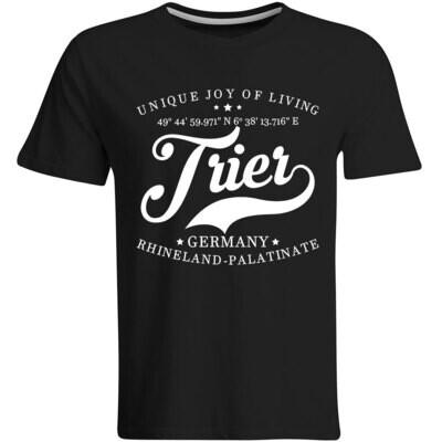 Trier T-Shirt mit GPS Koordinaten (Herren, Rundhals- oder V-Ausschnitt)