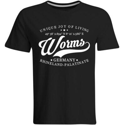Worms T-Shirt mit GPS Koordinaten (Herren, Rundhals- oder V-Ausschnitt)