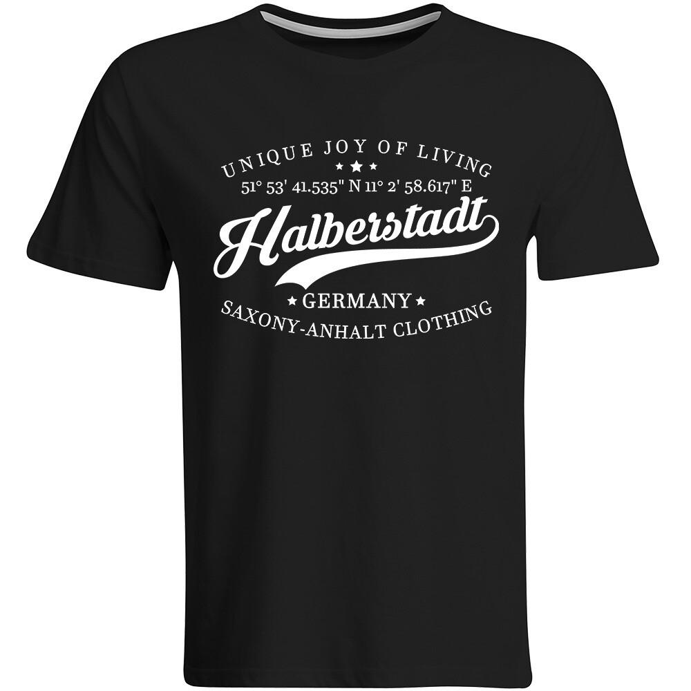 Halberstadt T-Shirt mit GPS Koordinaten (Herren, Rundhals- oder V-Ausschnitt)
