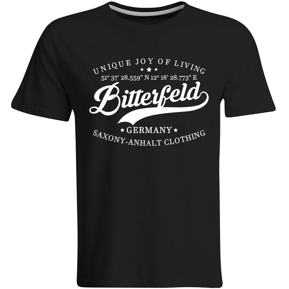 Bitterfeld T-Shirt mit GPS Koordinaten (Herren, Rundhals- oder V-Ausschnitt)