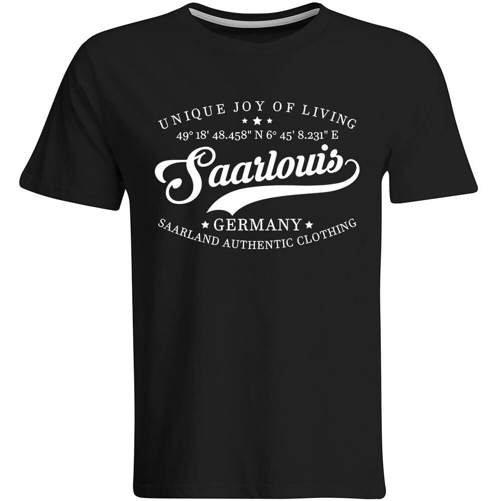 Saarlouis T-Shirt mit GPS Koordinaten (Herren, Rundhals- oder V-Ausschnitt)