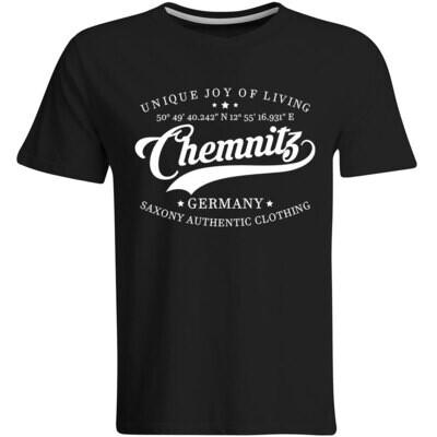 Chemnitz T-Shirt mit GPS Koordinaten (Herren, Rundhals- oder V-Ausschnitt)