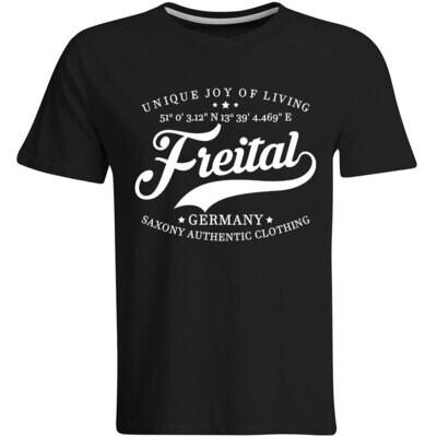 Freital T-Shirt mit GPS Koordinaten (Herren, Rundhals- oder V-Ausschnitt)