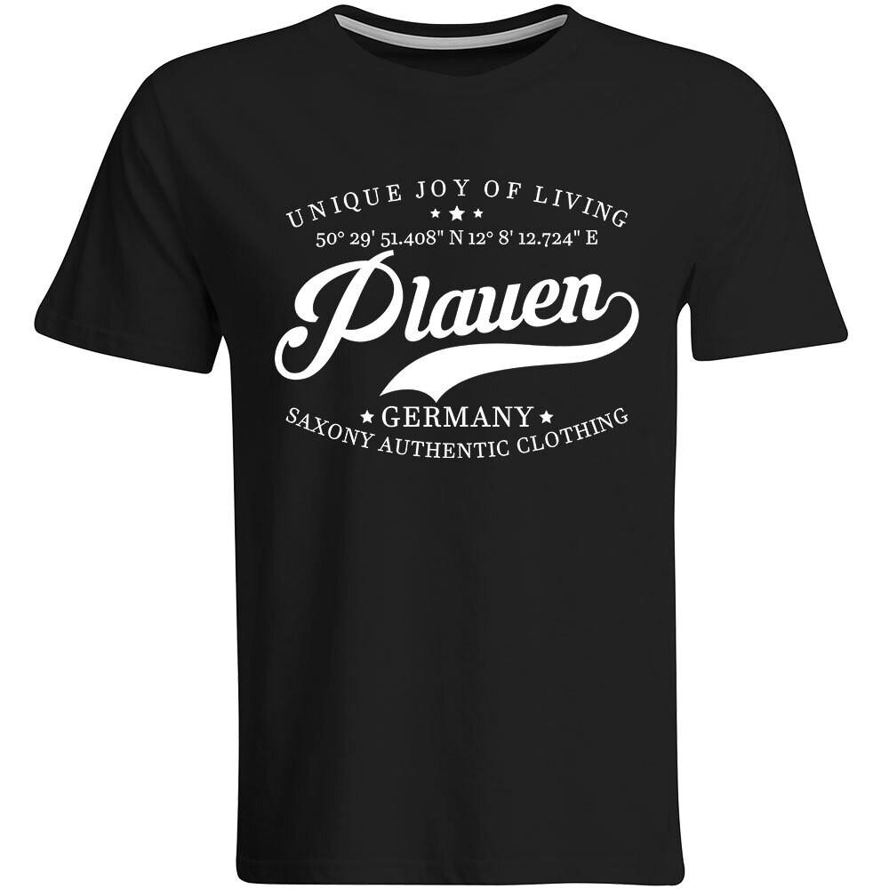 Plauen T-Shirt mit GPS Koordinaten (Herren, Rundhals- oder V-Ausschnitt)