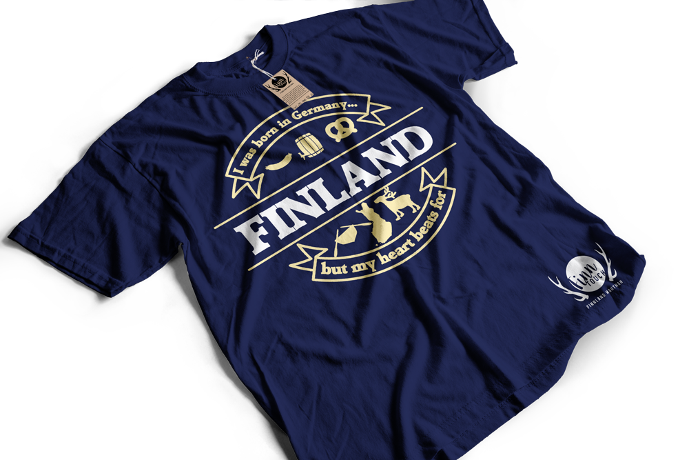 """""""I was born in Germany, but my heart beats for Finland"""" T-Shirt (Men) M1-FT 00126"""