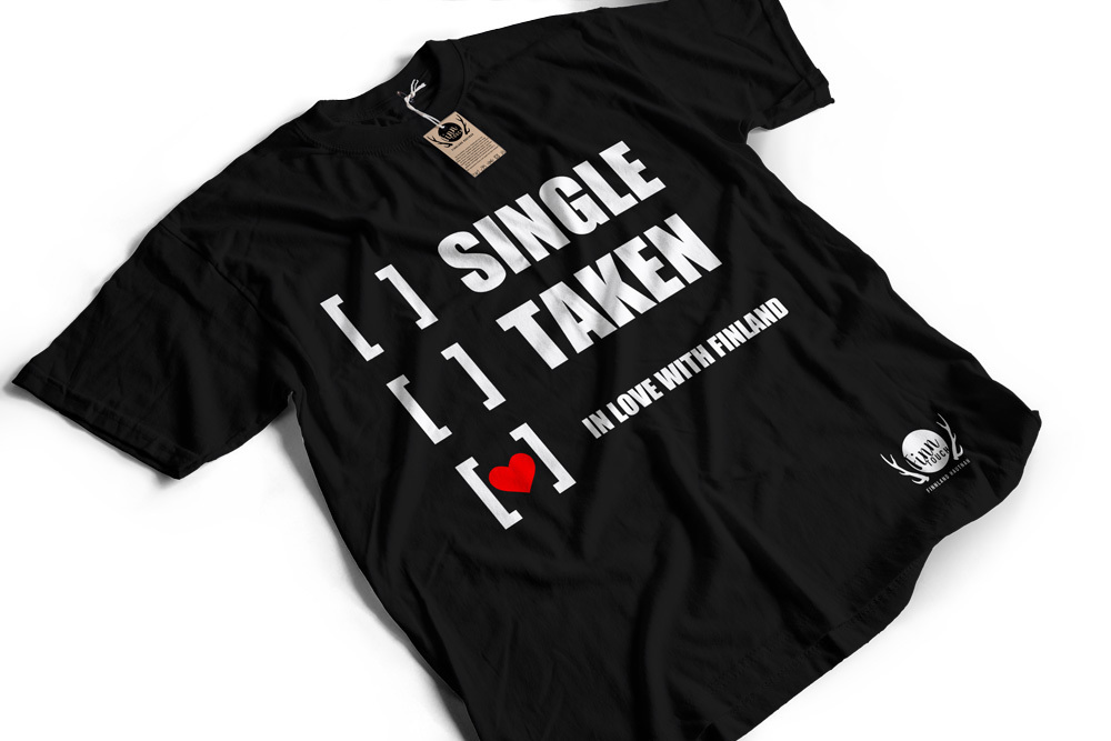 """Single, taken, in love with Finland"" T-Shirt (Men) M1-FT 00130"