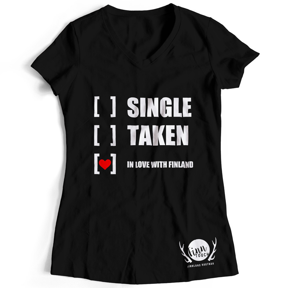 """Girlieshirt """"Single, taken, in love with Finland"""" M1-FT 00131"""