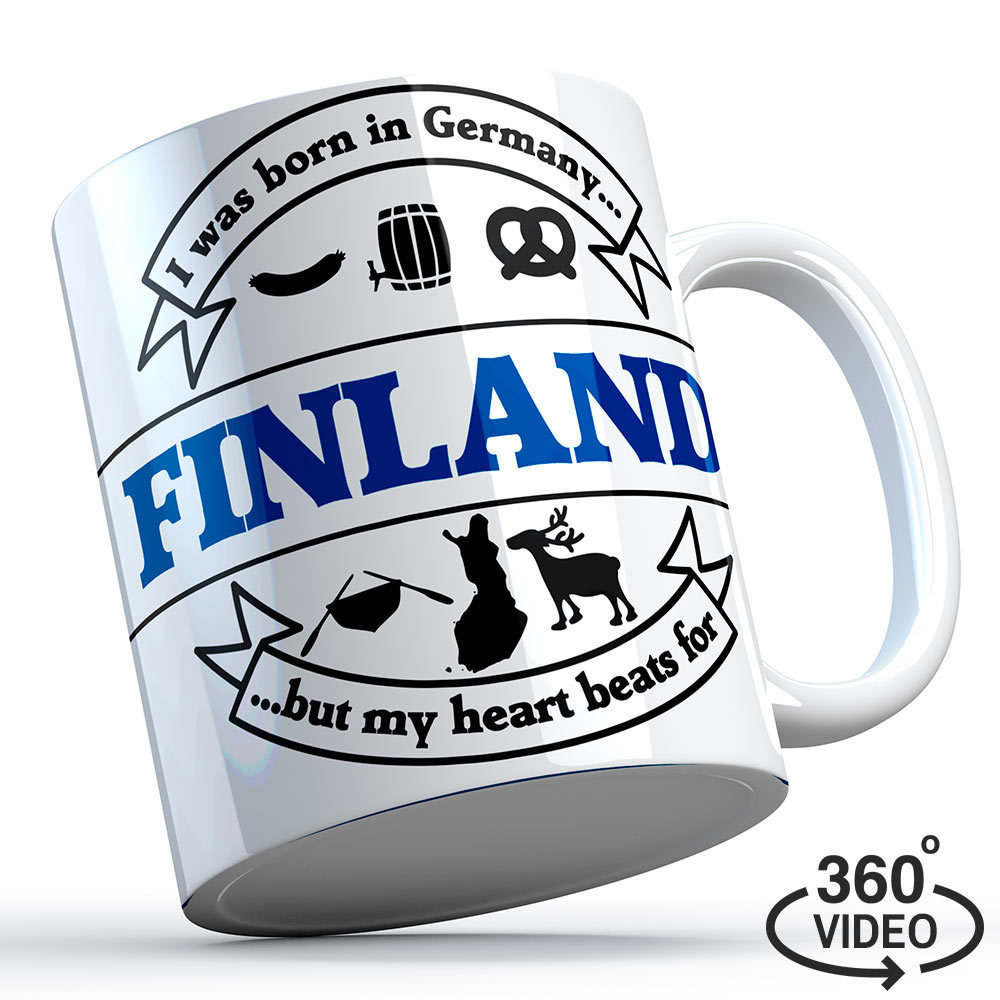 """Finnland Tasse """"I was born in Germany, but my heart beats for Finland"""" M1-FT 11131"""