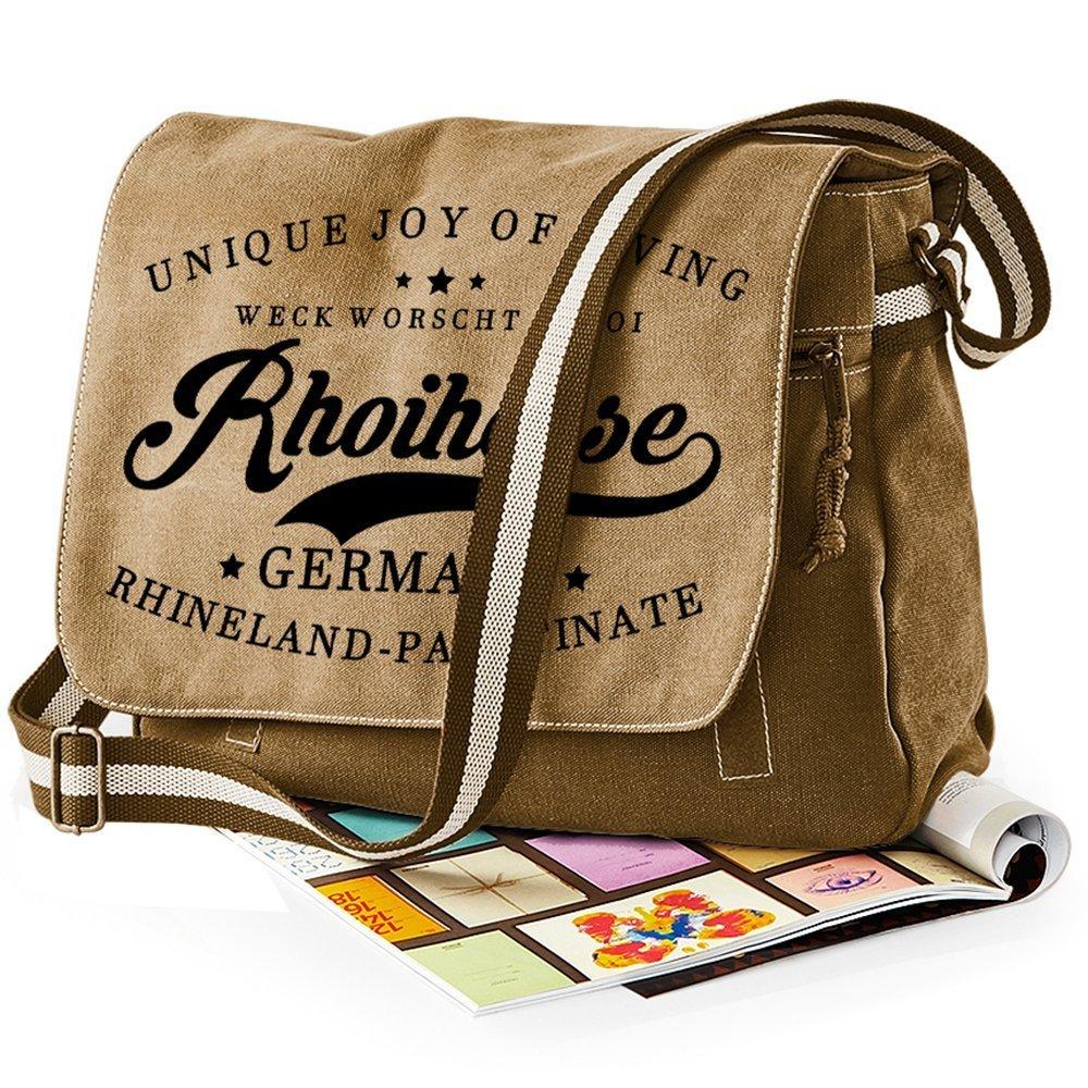 """""""Weck, Worscht & Woi! Rhoihesse"""" Premium Messengertasche im Vintagelook M1-RHL 85654"""