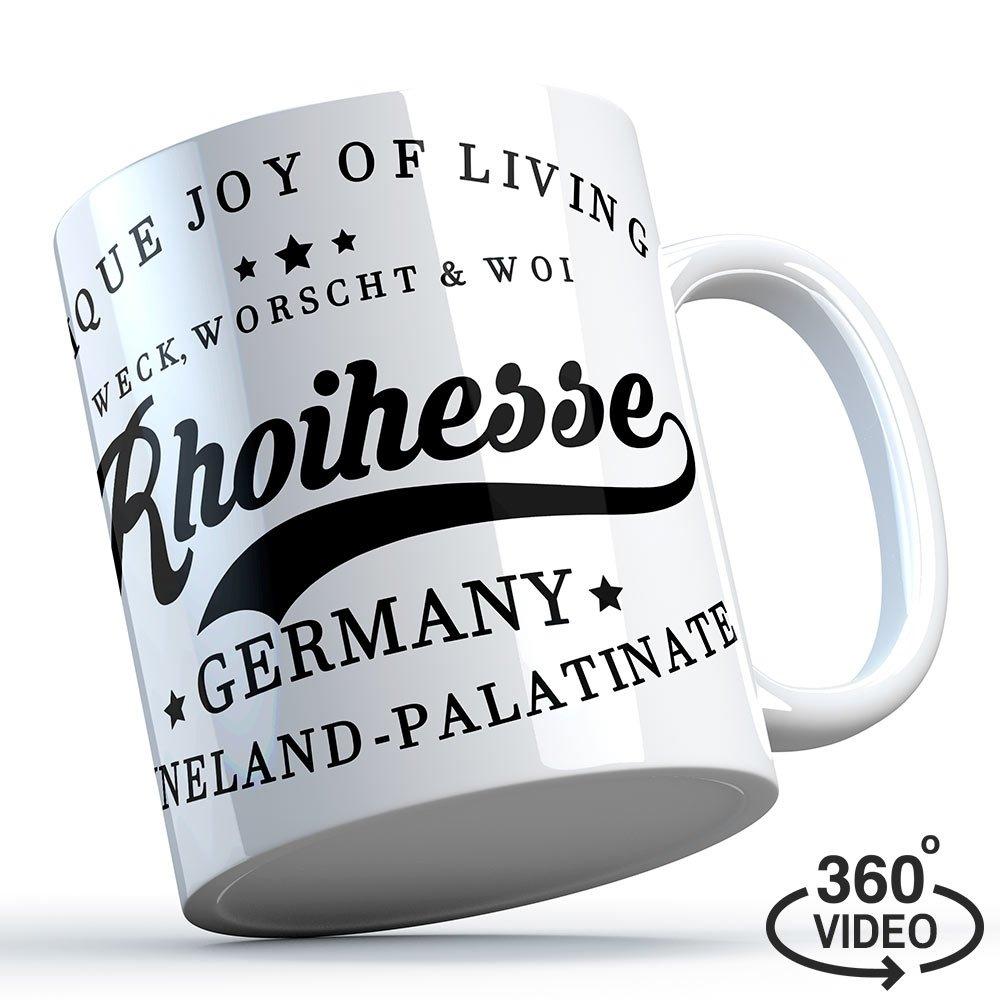 """""""Weck, Worscht & Woi - Rhoihesse"""" Keramiktasse 11220"""