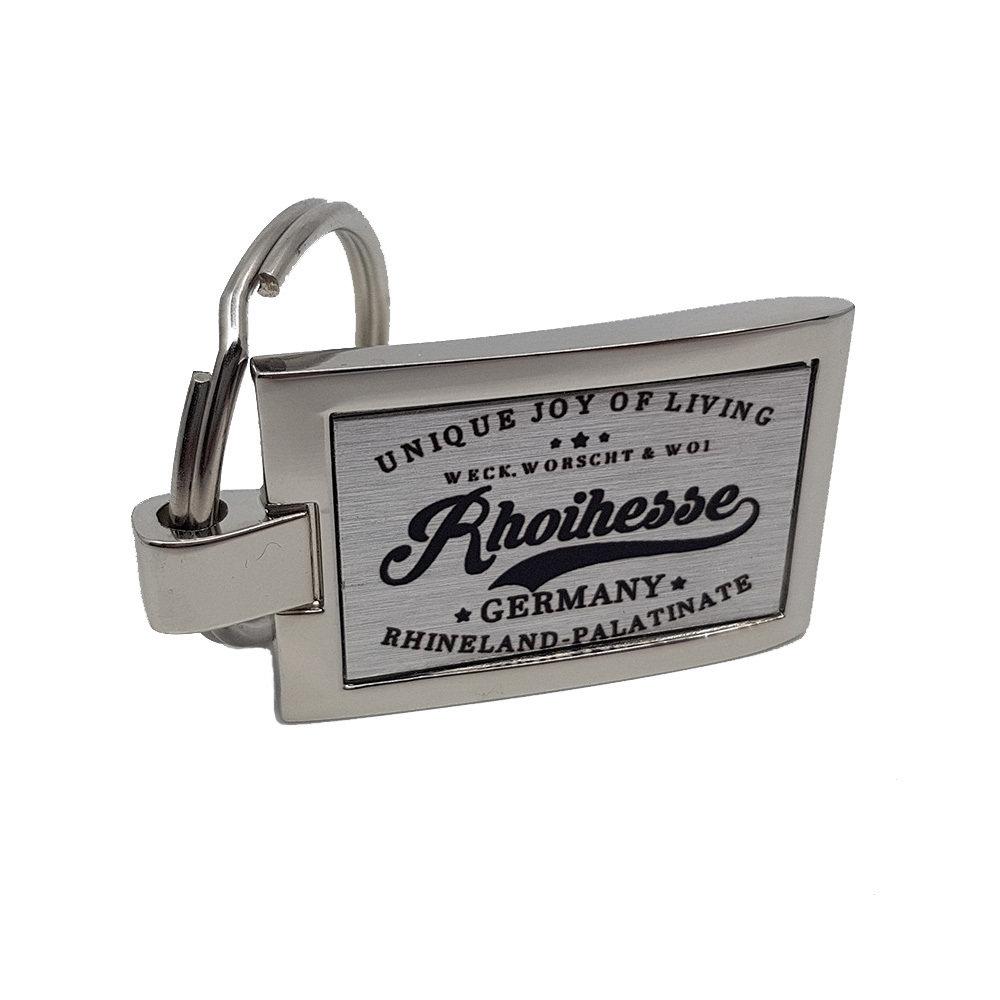"""Weck, Worsch & Woi - Rhoihesse"" Schlüsselanhänger aus Edelstahl M1-RHL 11216"