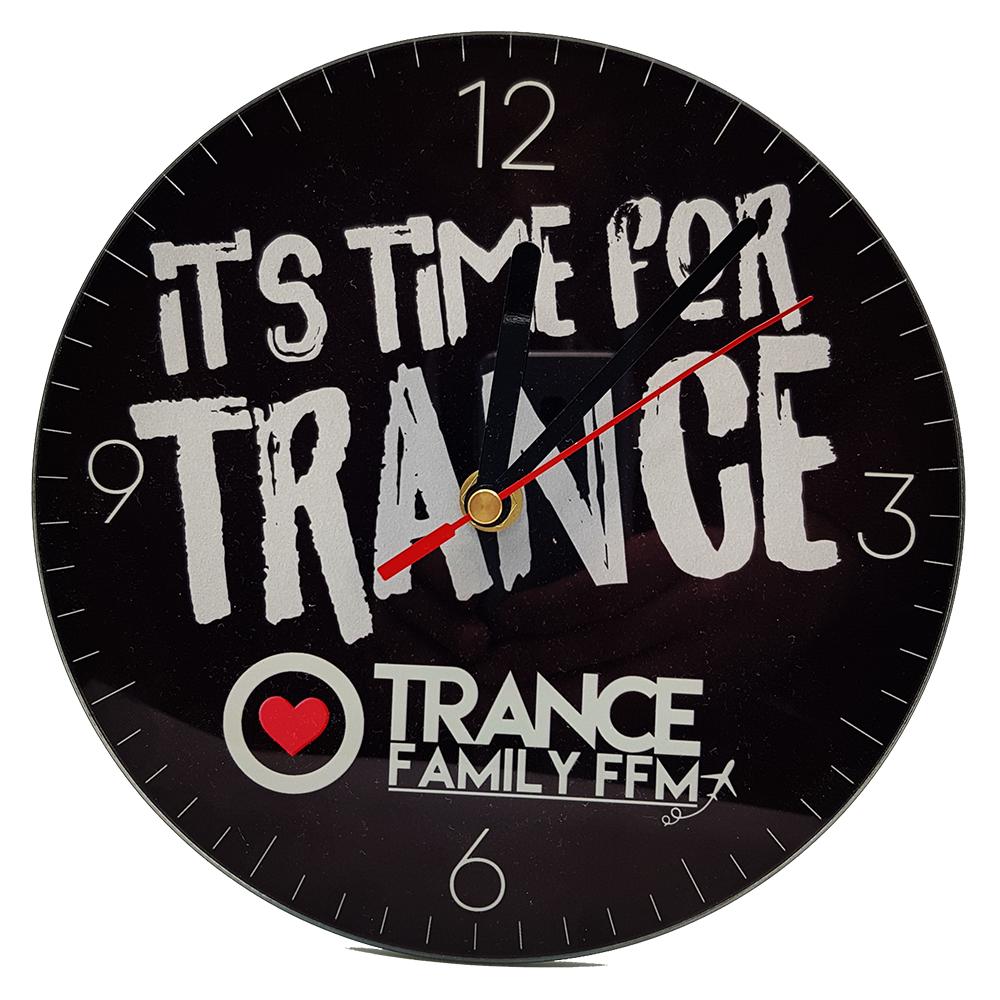 Trancefamily FFM Wanduhr aus Glas