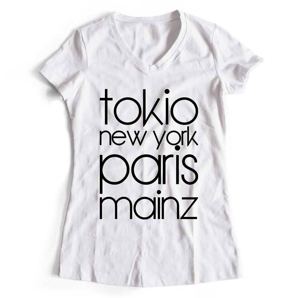 "T-Shirt ""Mainz, Tokio, New York, Paris"" (Damen) 11252"