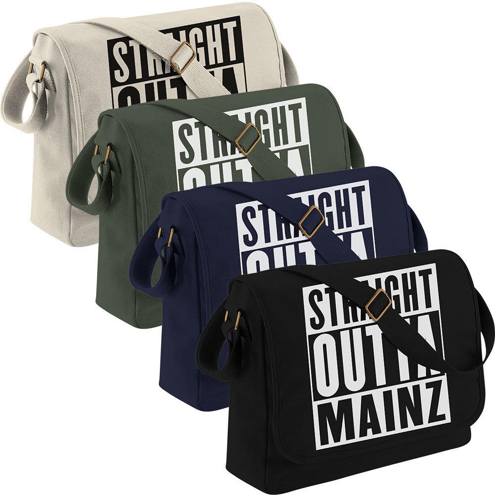 """""""Straight outta Mainz"""" Canvas Messenger Bag 11265"""