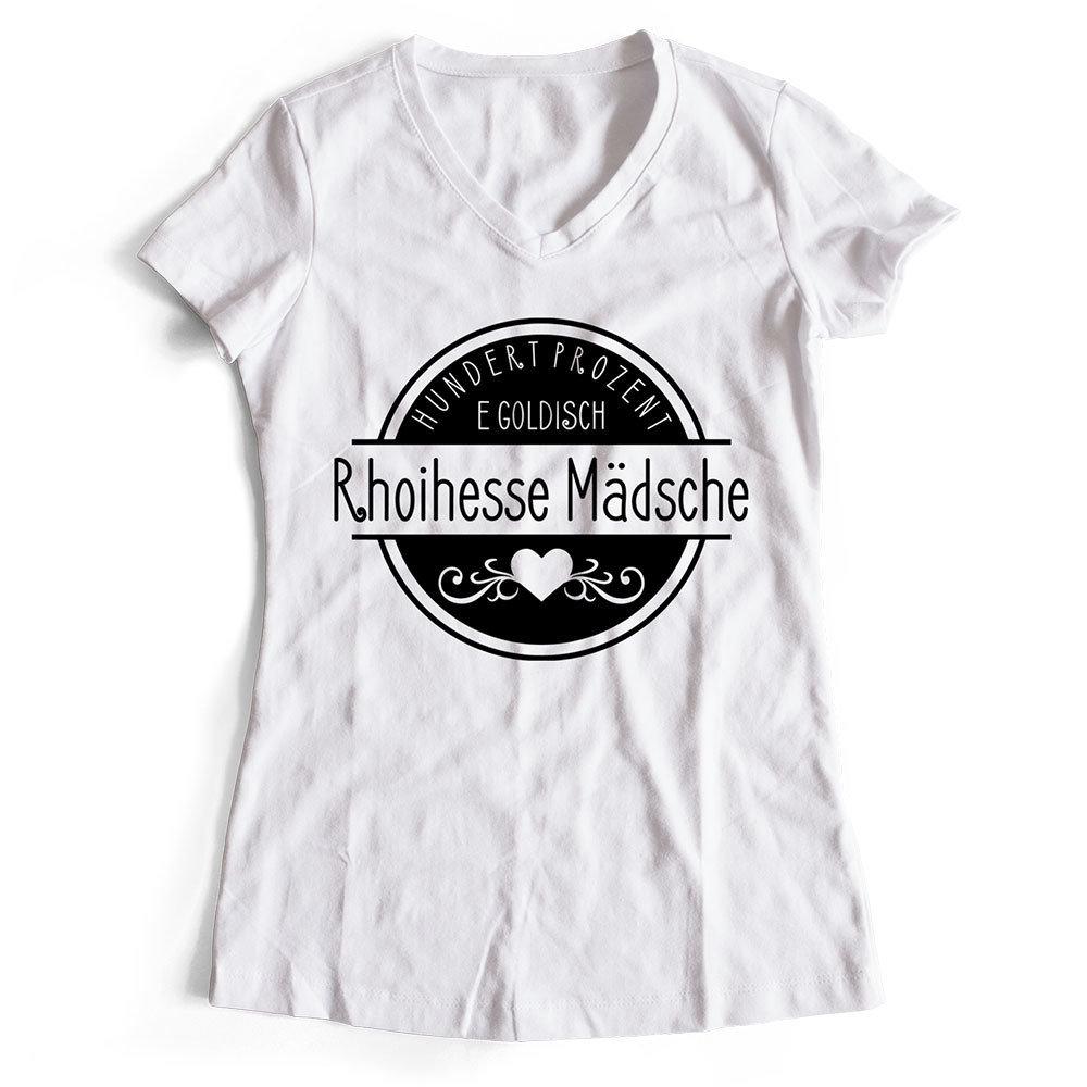 """T-Shirt """"Hundert Prozent e goldisch Rhoihesse Mädsche"""" (Damen) M1-RHL 85546"""