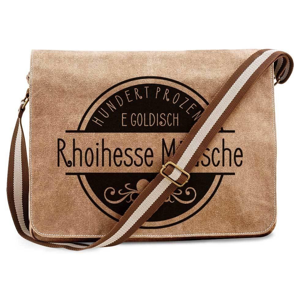 """""""Hundert Prozent e goldisch Rhoihesse Mädsche"""" Premium Messengertasche im Vintagelook M1-RHL 88321"""