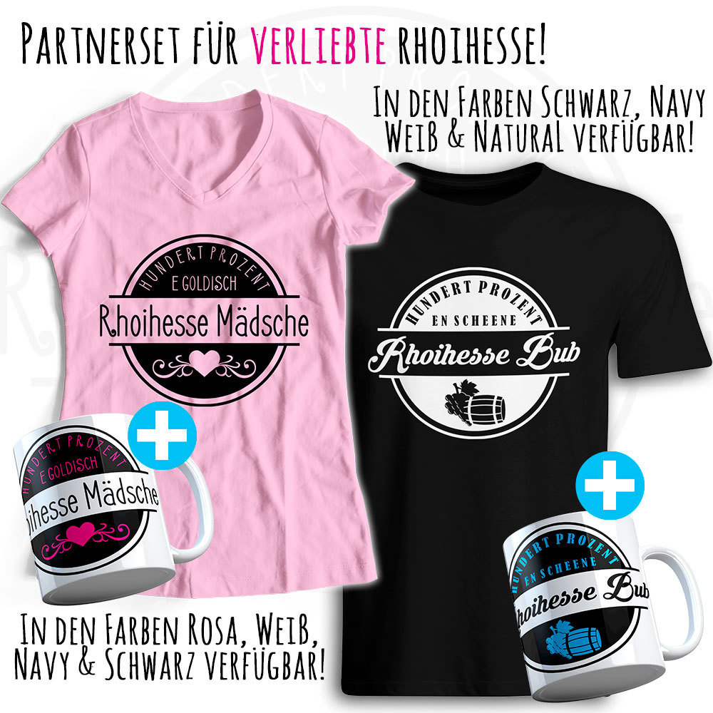 "T-Shirt/Tasse Partnerset ""Rhoihesse Mädsche / Rhoihesse Bub"" M1-RHL 90512"