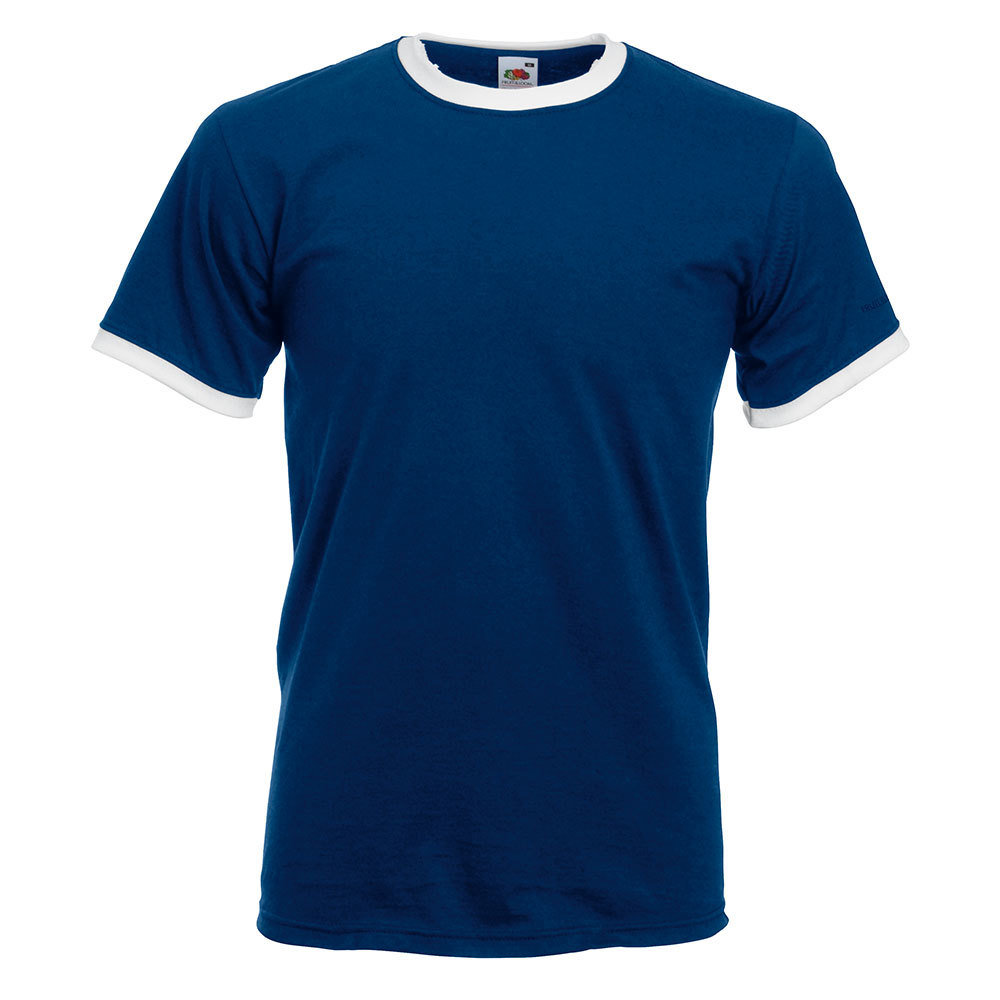 Ringer T-Shirt Rundhals (Herren, Farbe Navy)