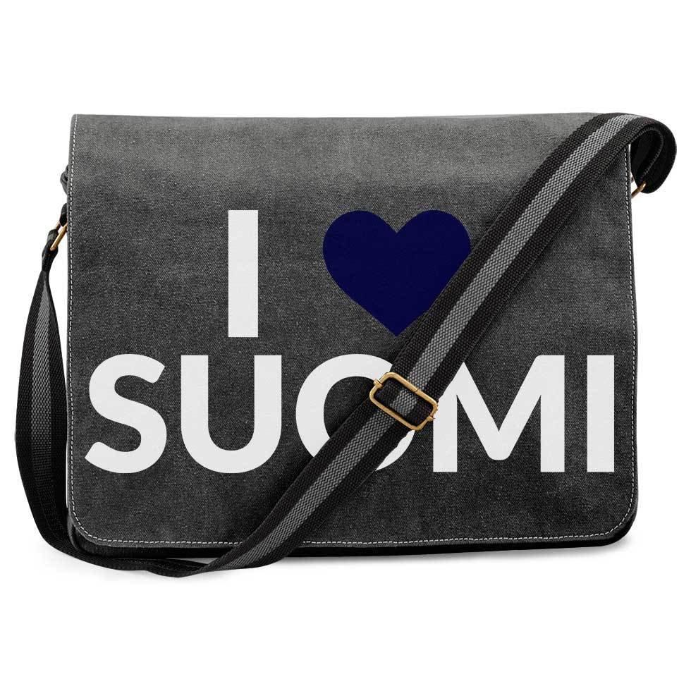 """""""I love Suomi"""" Premium Messengertasche im Vintagelook"""