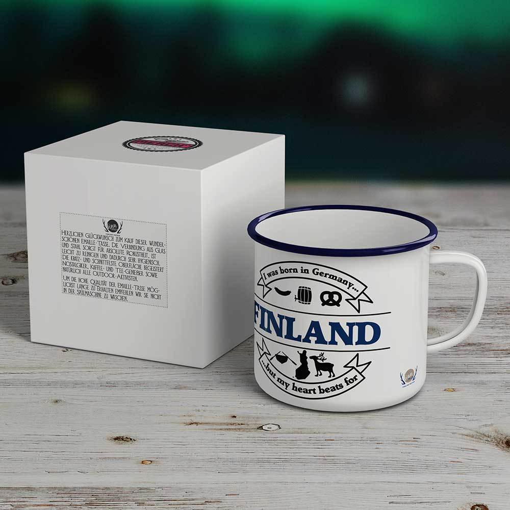 """I was born in Germany, but my heart beats for Finland"" Emaille-Tasse M1-FT 19945"