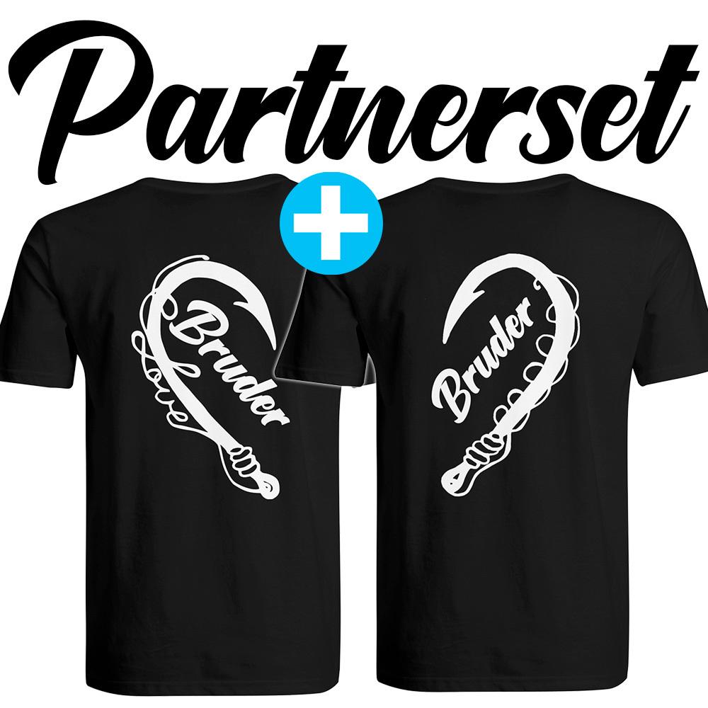 """Angler & Angler / Bruder & Bruder"" T-Shirt Partnerset (Kindergröße 90 bis XXXL) M1-AA 67831"