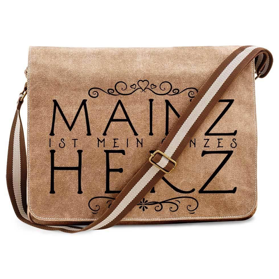 """""""Mainz ist mein ganzes Herz"""" Premium Messengertasche im Vintagelook M1-RHL 60917"""