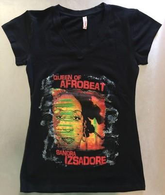 Female Black V-Neck T-Shirt- 100% Cotton