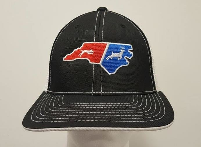 Two Color State Dog & Deer Flex Fit Hat - 68 Hat Colors Available!!!