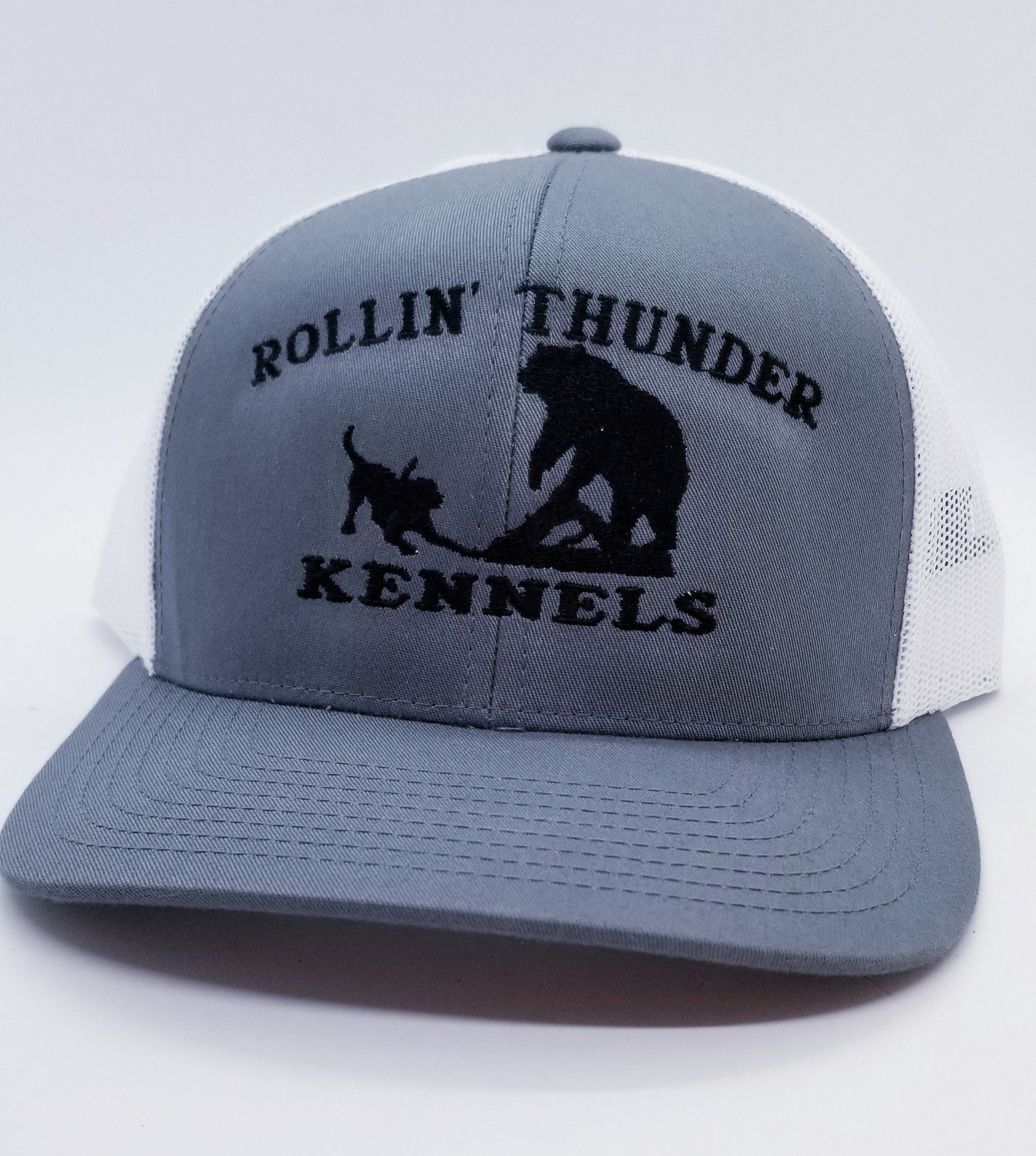 Dog Baying Bear Design Flex Fit Custom Hat - 68 Hat Colors Available!!!