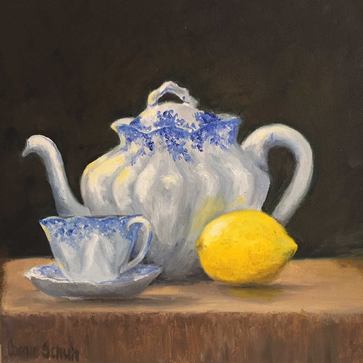 Char's Tea Pot, 12x12, Oil